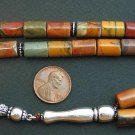 PRAYER BEADS TESBIH KOMBOLOI RAINBOW PICASSO JASPER AND STERLING