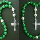 ANGLICAN EPISCOPAL ROSARY MALACHITE & STERLING