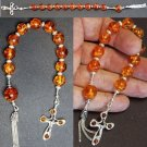 CATHOLIC OPEN ROSARY CHAPLET COGNAC AMBER &  STERLING SILVER