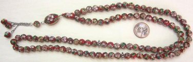 PRAYER BEADS CLOISONNE RED & GOLD  99 BEAD
