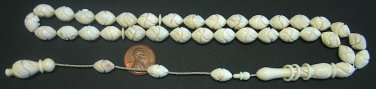 ISLAMIC PRAYER WORRY BEADS TESBIH OTTOMAN CARVE CAMEL BONE *RARE*