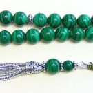 LUXURY PRAYER BEADS TASBIH A GRADE  MALACHITE & STERLING SILVER - COLLECTOR'S