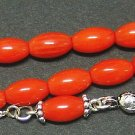 PRAYER WORRY BEADS DARK ORANGE CORAL AND STERLING - Limited VERY Special Offer