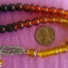 PRAYER WORRY BEADS KOMBOLOI GLASS GRADUATED AMBER COLOR
