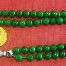 ISLAMIC PRAYER BEADS TESBIH 99 GREEN JADE & STERLING SILVER - by Tesbihci