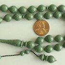 PRAYER BEADS KOMBOLOI ISLAM TESBIH MARBLED GREEN GALALITH -RARE- COLLECTOR'S