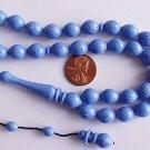 PRAYER BEADS KOMBOLOI TESBIH ISLAM MARBLED BLUE GALALITH -RARE- COLLECTOR'S