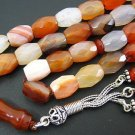 PRAYER BEADS TESBIH KOMBOLOI FACETED BANDED AGATE Rarely seen COLLECTOR'S