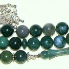 LUXURY PRAYER BEADS TESBIH AA GRADE MOSS AGATE STERLING TOP QUALITY COLLECTOR'S