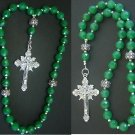 ORTHODOX BEADED CHOTKI KOMBOSKINI GENUINE EMERALD, PEARLS AND STERLING UNIQUE