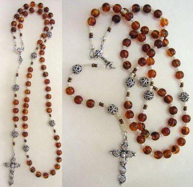 CATHOLIC ROSARY COGNAC AMBER & STERLING