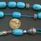 GREEK KOMBOLOI BLUE TURQUOISE BARRELS AND STERLING