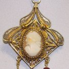 Art Nouveau Antique Gilded Sterling Filigree Cameo Italian Pendant w Rubies
