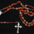 CATHOLIC CHAIN ROSARY CHAPELET PRAYER BEADS SARDONYX AND STERLING SILVER