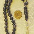 ISLAMIC PRAYER BEADS: TESBIH KOMBOLOI BLUE GOLDSTONE & STERLING  Tesbihci
