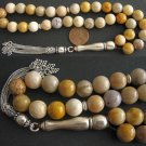 PRAYER WORRY BEADS TESBIH FOSSIL CORAL AND  STERLING - RARELY SEEN  COLLECTOR'S