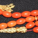 LUXURY PRAYER BEADS TESBIH CHAPELET MEDITERRANEAN SALMON ORANGE CORAL & VERMEIL