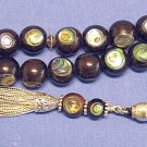 TESBIH PRAYER BEADS KOMBOLOI EBONY INLAID W PAUA SHELL UNIQUE COLLECTOR'S XXR