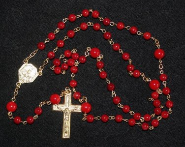 CATHOLIC CHAIN ROSARY CHAPELET PRAYER BEADS RED CORAL AND GOLD FATIMA