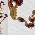 CATHOLIC CHAIN ROSARY CHAPELET PRAYER BEADS GARNET AND GOLD