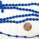 ISLAMIC PRAYER BEADS 99 BLUE TURKISH AMBER CATALIN SUPERIOR CARVING - COLLECTOR