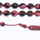 PRAYER BEADS TESBIH BLACK FUSCHIA MARBLED VINTAGE GALALITH UNIQUE XR COLLECTOR'S