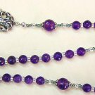 3 WAYS WEARABLE CATHOLIC ROSARY PENDANT NECKLACE FACETED AMETHYST & STERLING