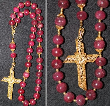 2WAY WEARABLE BEADED CHOTKI KOMBOSKINI GENUINE RUBY & VERMEIL ANTIQUE CROSS