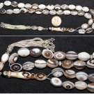 LUXURY PRAYER BEADS TASBIH OVAL BOTSWANA AGATE & STERLING AA QUALITY COLLECTOR'S