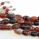 Prayer beads Tesbih oval Yemeni Agate Akeek & Sterling - Exceptional Collector's
