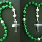 EPISCOPAL ANGLICAN ROSARY MALACHITE & STERLING SILVER