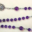 Wearable Catholic Rosary or necklace faceted amethyst & Sterling Silver