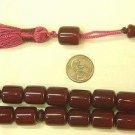 PRAYER WORRY BEADS TESBIH STRAIGHT BARREL BURGUNDY FATURAN TYPE RESIN
