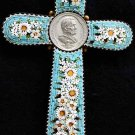 Antique Papal micro mosaic cross - crucifix PIUS X, Exceptional and very Rare