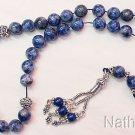Greek Komboloi worry beads Denim Lapis Lazuli & Sterling silver