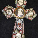 Vintage Papal micro mosaic cross - crucifix PAUL VI , 1975, Rare