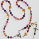 3 WAYS WEARABLE CATHOLIC ROSARY TOURMALINE & STERLING SILVER  **SEE**