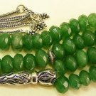 WORRY BEADS TESBIH GENUINE EMERALD & STERLING 66 GLOWING FACETED CUT COLLECTOR'S