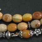 PRAYER BEADS TESBIH KOMBOLOI GOLDEN JADE & STERLING SILVER