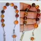 CATHOLIC OPEN ONE DECADE ROSARY CHAPLET COGNAC AMBER & STERLING SILVER