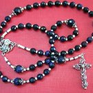 CATHOLIC ROSARY DEEP BLUE GOLDSTONE & STERLING SILVER
