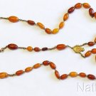 Antique Butterscotch Baltic Amber and Gold Catholic Rosary with Reliquary Cross