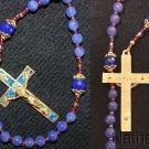 Catholic Rosary Genuine Round Clear Sapphires w Fatima Vintage Cross & Center