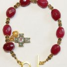 Anglican Rosary bracelet faceted genuine Ruby smoky Quartz Micromosaic & Vermeil