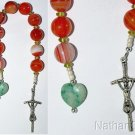 Catholic Open Chaplet -One Decade Rosary- Banded Agate Peridot & Sterling Silver