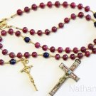 Catholic Rosary Ruby Sapphire Vermeil Wearable 7 Uses 2 crosses – RARE - UNIQUE