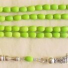 ISLAMIC PRAYER BEADS 99 OVAL LIME TURQUOISE & STERLING SILVER