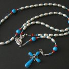 HEAVY STERLING, CORAL & TURQUOISE WEARABLE ROSARY, PENDANT OR NECKLACE **SEE**