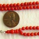 Islamic Prayer Beads Tesbih Gebetskette 99 Beads Oxblood Coral & Sterling - MINI
