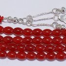 ISLAMIC PRAYER BEADS TESBIH 99 BEADS NATURAL RED JADE AND STERLING SILVER